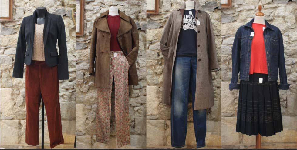 Sélection de styles vestimentaire réalisés par la friperie l'hirondelle dans l'atelier
